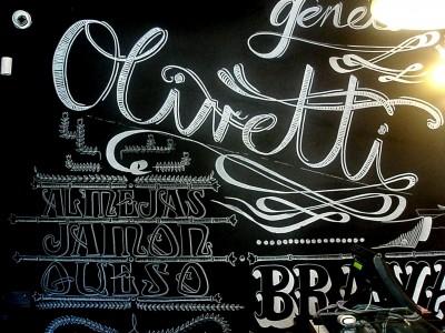 Decoración en el Hall del restaurante Olivetti