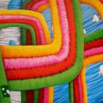 detalle de un graffiti de arcoiris