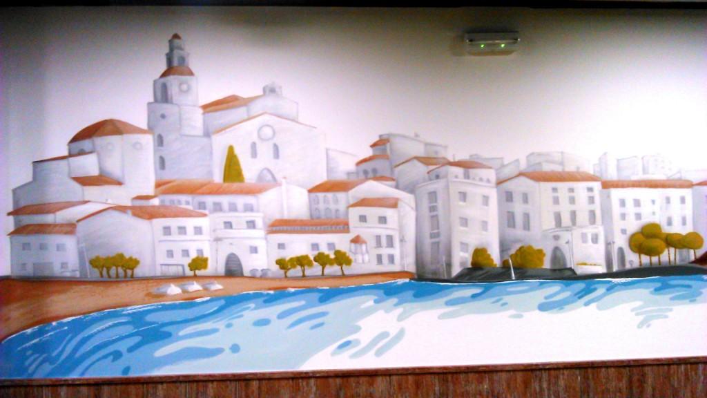 """graffiti restaurante """"la perla""""decoración en el"""